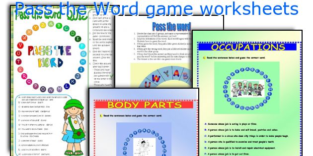 Pass The Word Game Worksheets