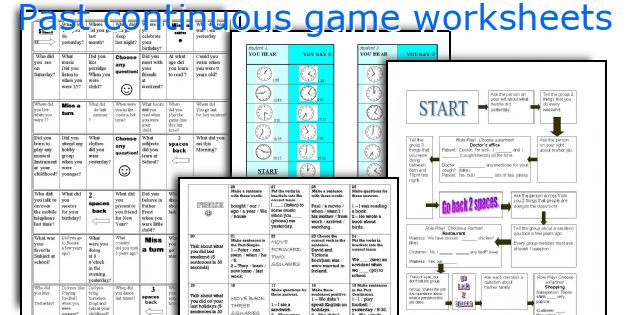 Past continuous game worksheets