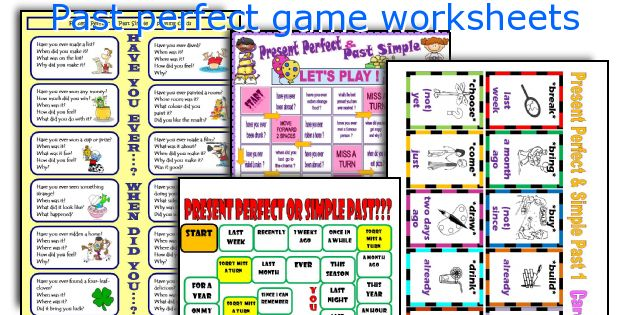 Past perfect game worksheets