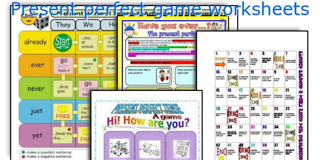 Present perfect game worksheets