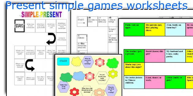 Present simple games worksheets