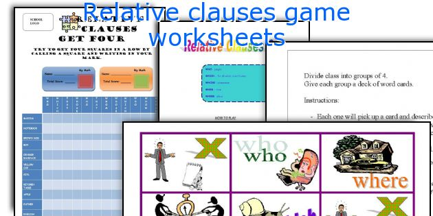 Relative clauses game worksheets