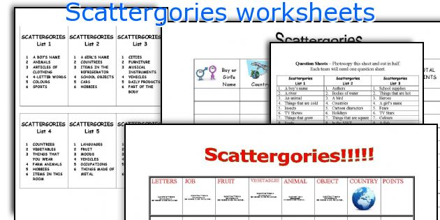 Scattergories worksheets