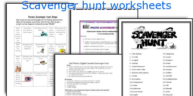 Scavenger hunt worksheets