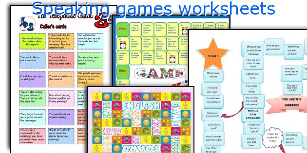 Speaking games worksheets