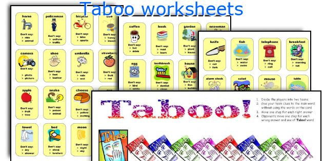 Taboo worksheets