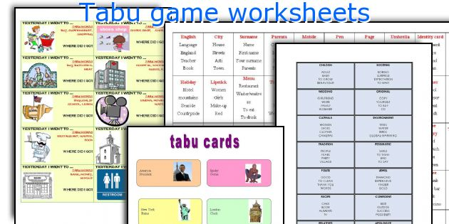Tabu game worksheets