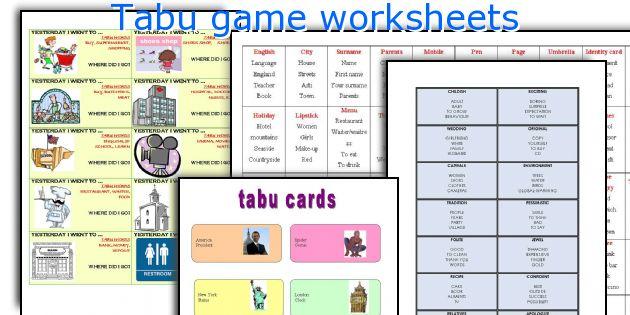 Tabu game worksheets