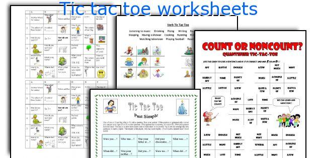 Tic tac toe worksheets
