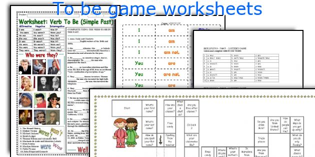 To be game worksheets