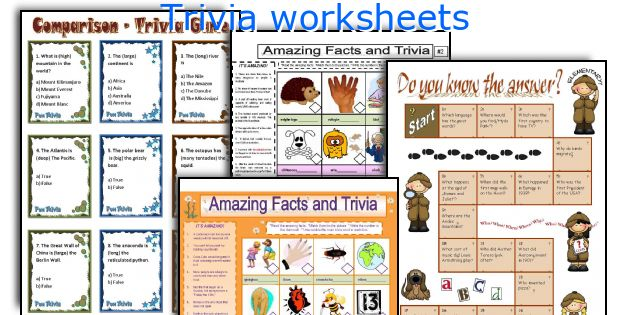 Trivia worksheets