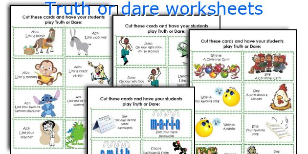 Truth or dare worksheets