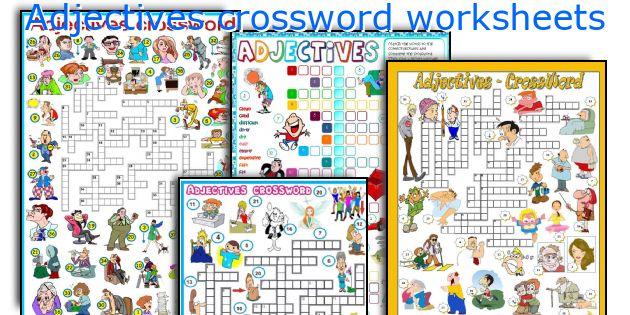 Adjectives crossword worksheets