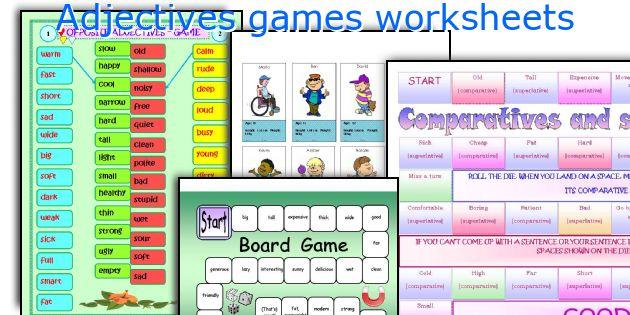 Adjectives games worksheets