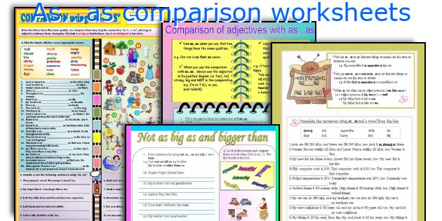 As...as comparison worksheets