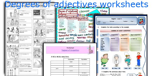 Degrees of adjectives worksheets