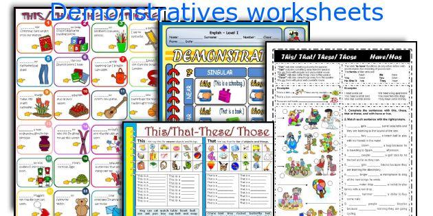 Demonstratives worksheets
