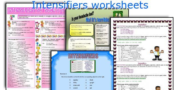 Intensifiers worksheets