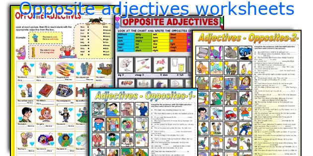 Opposite adjectives worksheets