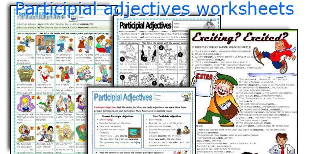 Participial adjectives worksheets
