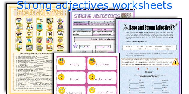 Strong adjectives worksheets