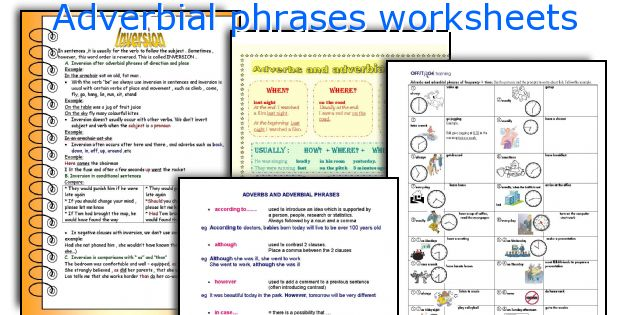 Adverbial phrases worksheets