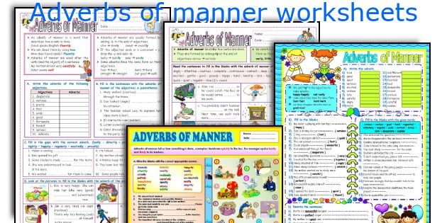 Adverbs of manner worksheets