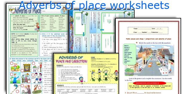 Adverbs of place worksheets