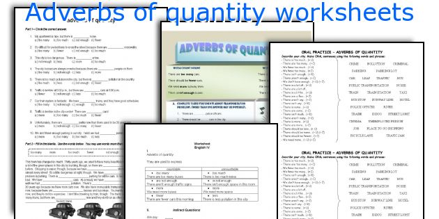 Adverbs of quantity worksheets