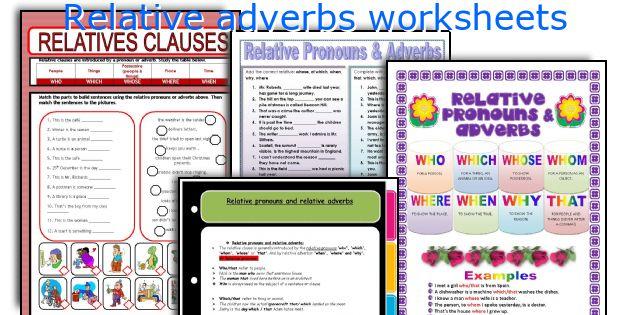 Relative adverbs worksheets