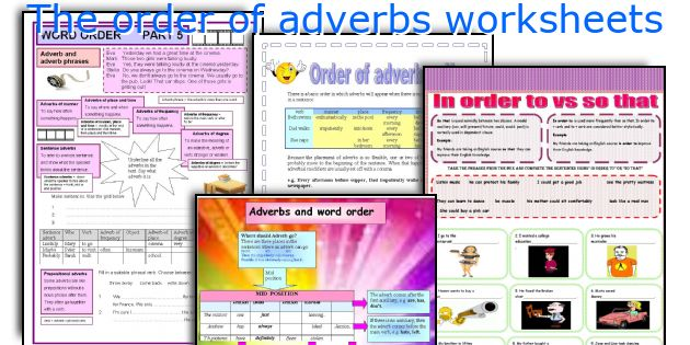 The order of adverbs worksheets