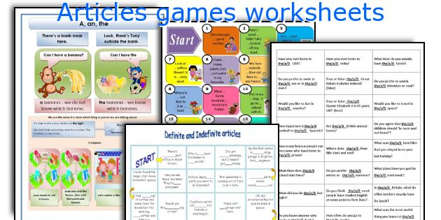 Articles games worksheets