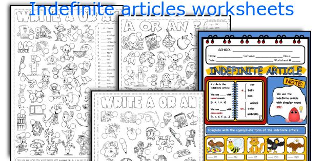 Indefinite articles worksheets