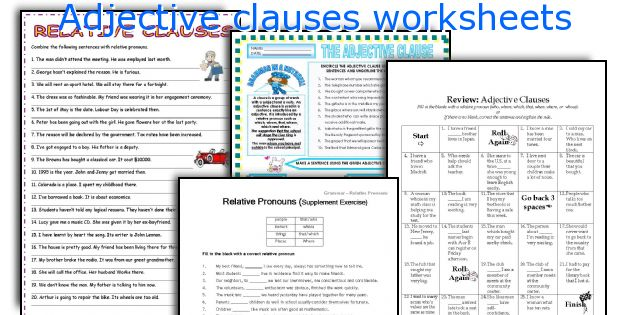 Adjective clauses worksheets