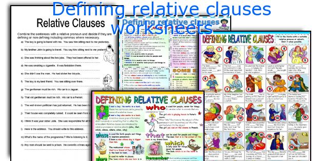 Defining relative clauses worksheets