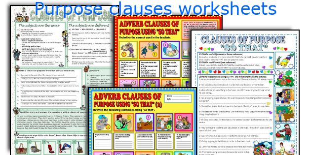 Purpose clauses worksheets