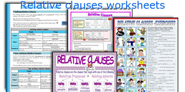 Relative clauses worksheets