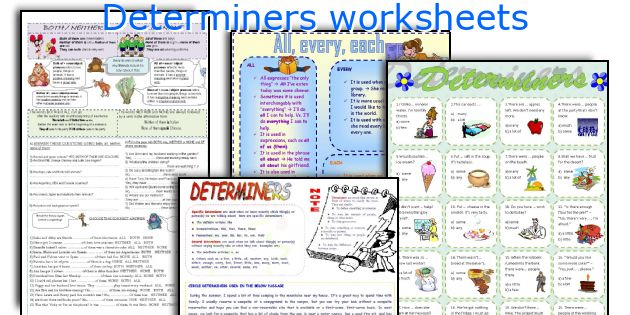 Determiners worksheets