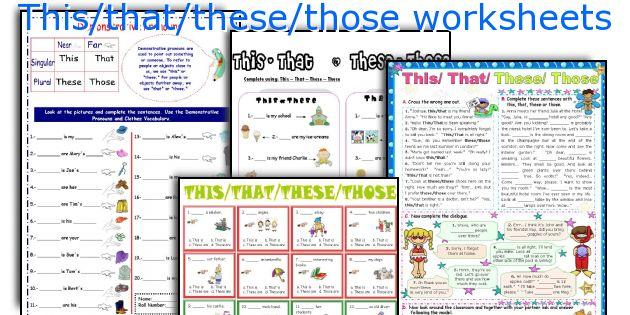 Thisthatthesethose Worksheets