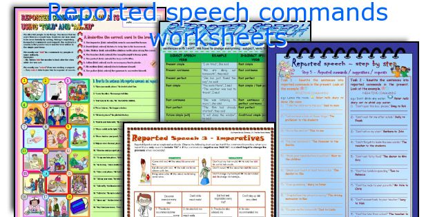 Reported speech commands worksheets