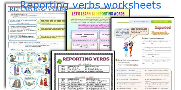 Reporting verbs worksheets