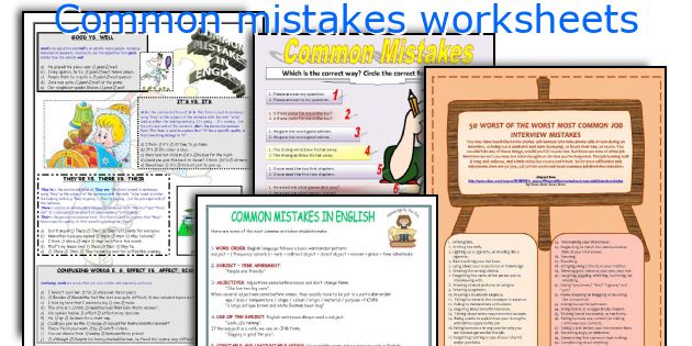 Common mistakes worksheets