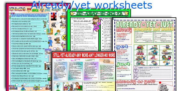 Already/yet worksheets