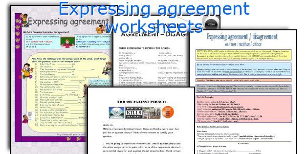 Expressing agreement worksheets