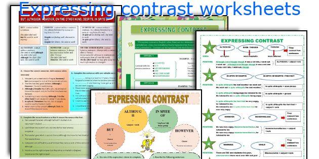 Expressing contrast worksheets
