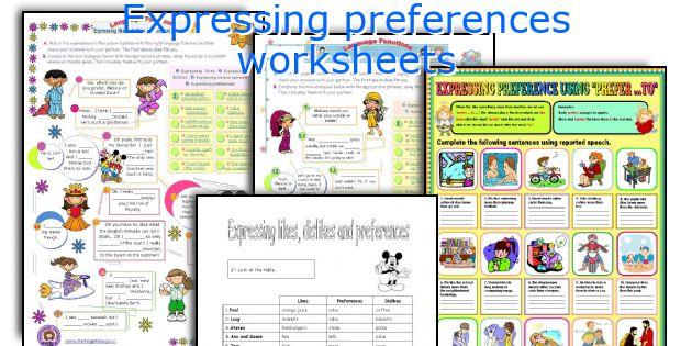 Expressing preferences worksheets