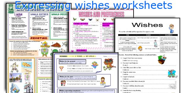 Expressing wishes worksheets