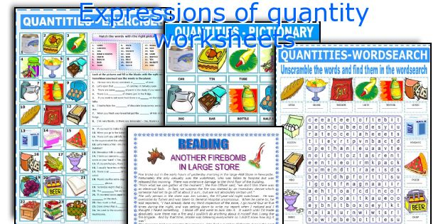 Expressions of quantity worksheets