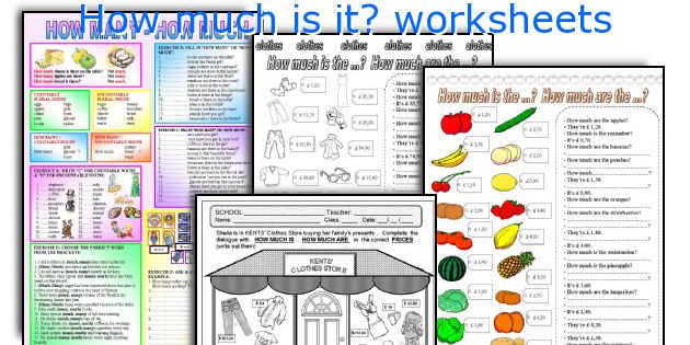 How much is it? worksheets