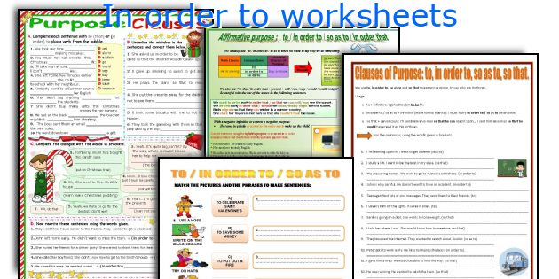 In order to worksheets